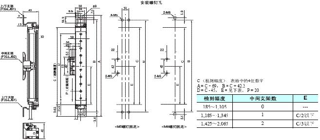 F3SJ系列 外形尺寸 6 Mounting Top/Bottom and Intermediate Brackets_Backside mounting_Dim