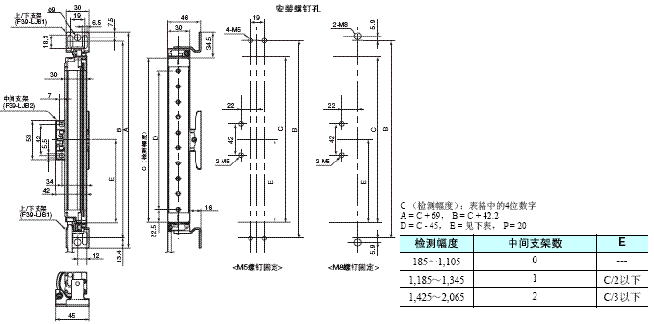 F3SJ系列 外形尺寸 8 Mounting Top/Bottom and Intermediate Brackets_Side mounting_Dim