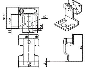 F3SJ系列 外形尺寸 10 Top/Bottom bracket for F39-LJB1_Dim