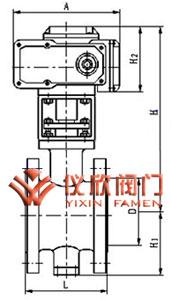 电动V型球阀外型尺寸图(法兰式)