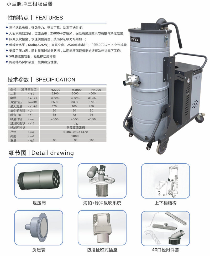 SH3000脉冲工业吸尘器  3KW大吸力全自动脉冲工业吸尘器厂家示例图4
