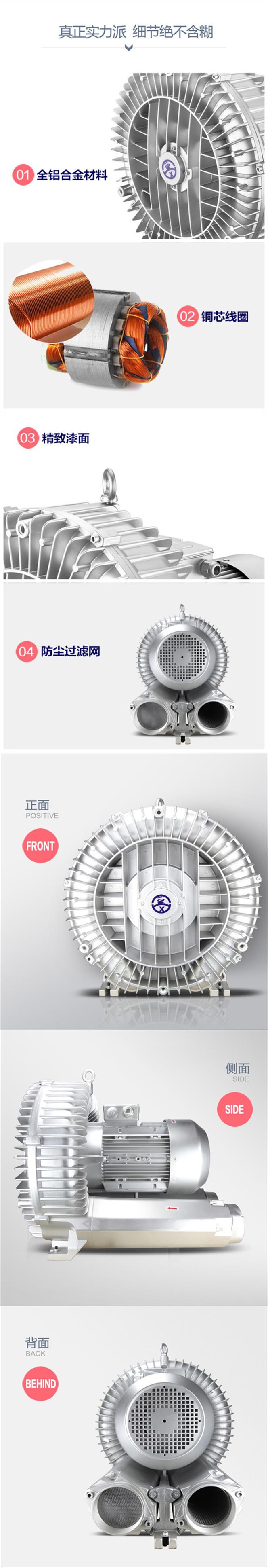 TWYX纸张吸附高压风机RB系列高压风机 YX系列旋涡气泵一体化污水曝气铸铝全风高压风机示例图5